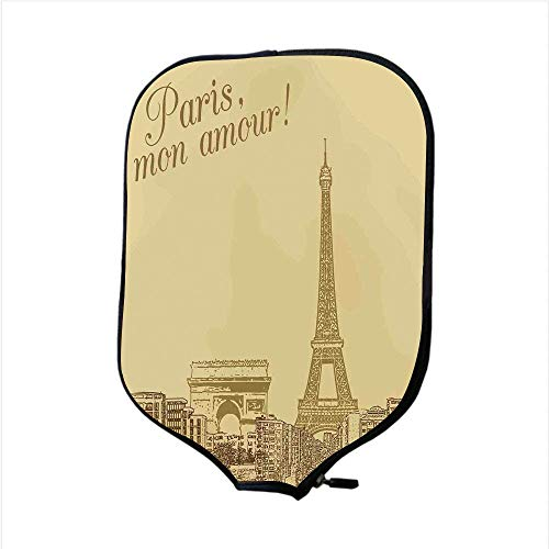 VANKINE Neoprene Premium Pickleball Paddle Racket Cover Case,Paris,Retro Scenery of Paris with Vintage Colors Eiffel Tower Love Modern Capital City Classic,Cream,Fit for Most Rackets