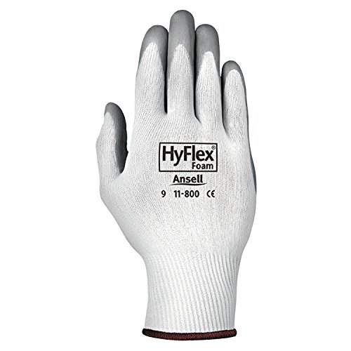 Ansell 11-800-9 HyFlex Foam Gloves, Size 9, White/Gray (Pack of 12) (Impregnated Work Glove)