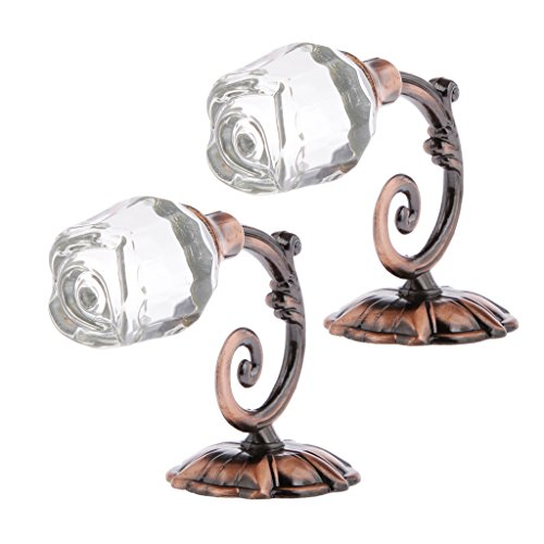 2pcs Crystal Rose Drapery Curtain Tieback Hooks Wall