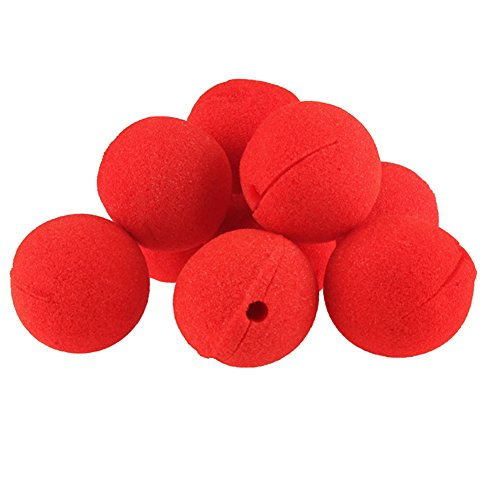 ACE 10 PCS Party Sponge Ball Red Clown Magic Nose for Halloween Masquerade Ball