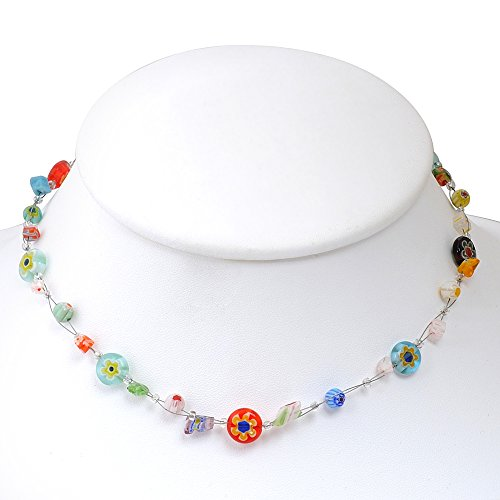 Venetian Murano Glass Bead Multi-Colored Millefiori Flower Round Disc Necklace, 16-18 inches Italian Glass Bead