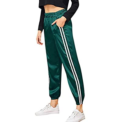 PASATO Women's Stripe Haren Motion Campus Leisure Style Sports Gym Running Athletic Long Pants