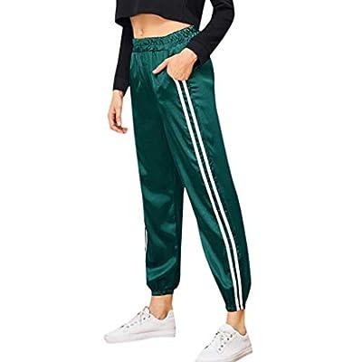 PASATO Women's Stripe Haren Motion Campus Leisure Style Sports Gym Running Athletic Long Pants