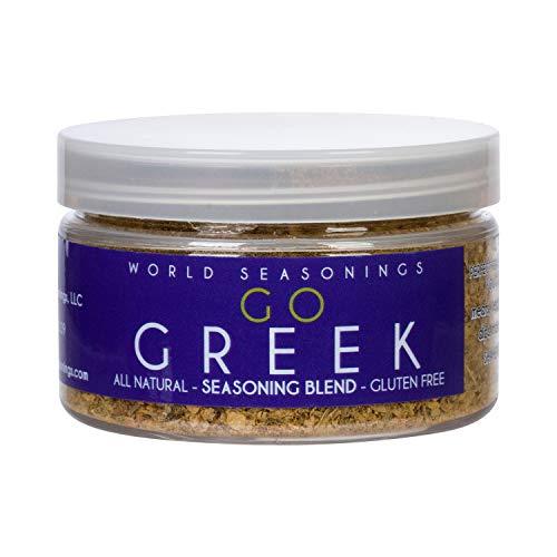 World Seasonings Greek Seasoning Blend - Kabob Skewers, Salad Dressing Mix, Beef & Lamb Dry Rub, Greek Yogurt Dip, Greek Spice Mix - Try it on Fish, Chicken, Vegetables & More (GO GREEK)