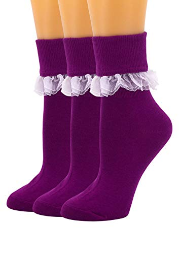 SEMOHOLLI Women Ankle Socks, Women Lace Ruffle Frilly Ankle Socks Fashion Ladies Girl Princess (3 Pairs-Purple)