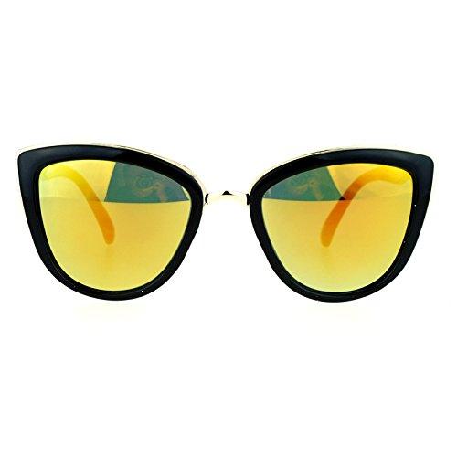 SA106 Runway Fashion Metal Bridge Trim Oversized Cat Eye Sunglasses Black Orange