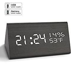 Alarm Clock, Digital Clock, 3 Brightness Levels, 3 Sets of AC Alarm Clocks for Bedrooms, Electronic With usb Large Led Display Dual Time Temperature Humidity for Heavy Sleepers