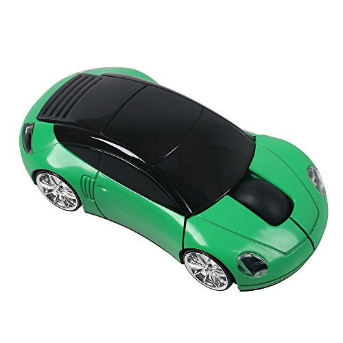 (Elsees 2.4GHz 3D Car Shape Wireless Optical Mouse USB Gaming Mouse with Receiver for PC Laptop (Green))