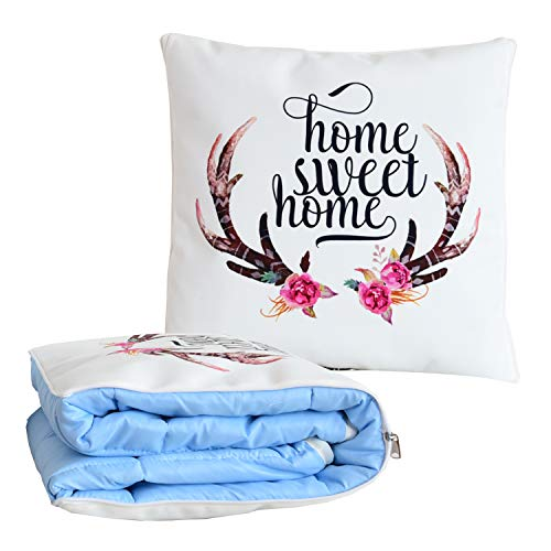 (BlueHills Decorative Soft Cozy Couch Pillow Blanket Throw Quilt for Home Airplane Car Travel Movies Kids Beach Camping Blanket 63x43 inches Pillow 16X16 inches in one Home Décor-Sweet Home-A007)