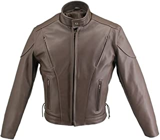 product image for Men's Brown Vented Leather Jacket (50 Long/Tall)