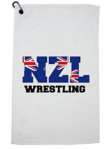 Hollywood Thread New Zealand Wrestling - Olympic Games - Rio - Flag Golf Towel with Carabiner Clip by Hollywood Thread