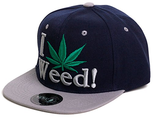 Weed-Marijuana-Leaf-Snapback-Flat-Visor-Hat-Cap-Includes-Free-Bandana-I-love-weed-One-Size-GrayNavy