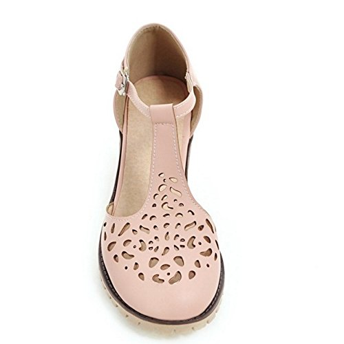 COOLCEPT Mujer Clasico Tacon Ancho Ankle Strap Hueco Vintage Sandalias 614 Rosado
