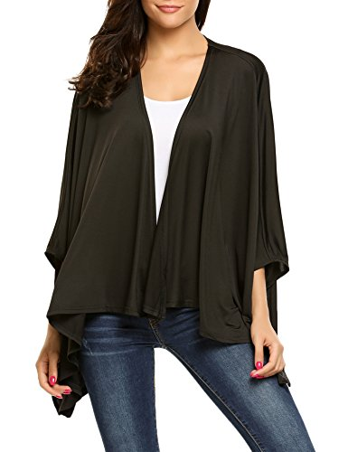 Women Open Front Casual Knit Long Sleeve Sweater Classic Cover Up Cardigan Black/L