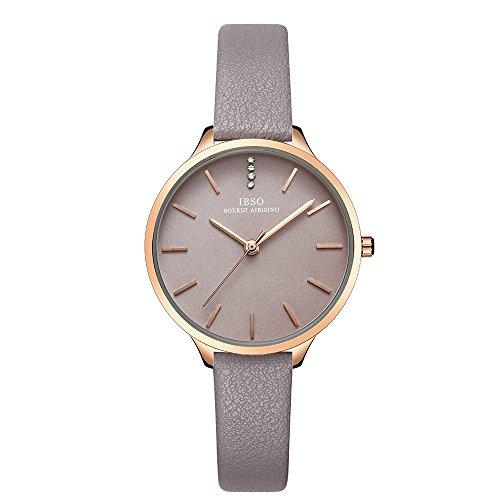 IBSO Women Fashion Simple Watch Ultra-Thin Retro Quartz Analog Leather Strap Ladies Wristwatch (6603 - Wristwatches Ladies