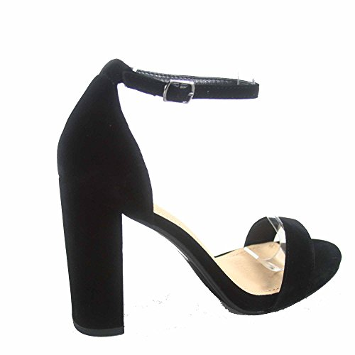 Delicious Shiner-s Womens Fashion Open Toe Ankle Strap Chunky Heels Sandals Shoes Black HtLL5