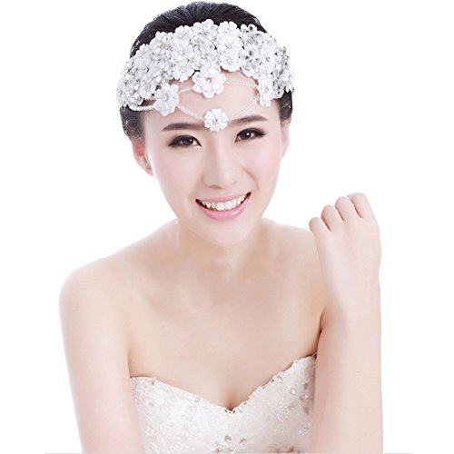 Voberry® Handmade Lace Married Bride Headdress Rhinestone Wedding Dinner Party Hair Accessory