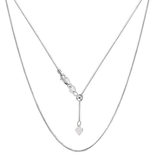 Octagonal Snake Chain - 14k White Gold Adjustable Octagonal Snake Chain Necklace, 0.85mm, 22