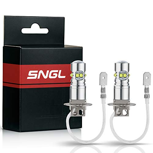 SNGL H3 Super Bright CREE LED DRL Fog Light bulbs - Plug-and-Play - 6000K Cool White (Pack of 2)