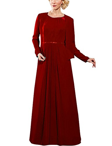 Gowns Burgundy Sleeves Of D With Bride Chiffon Long The S Wrap Mother Formal Dresses H qHnw6fOWtA