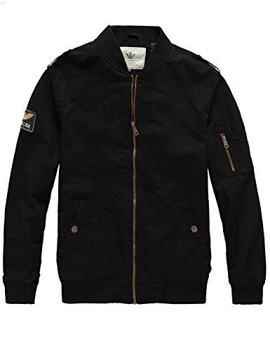 WenVen Men's Lighweight Cargo Military Coat (Black, Size S)