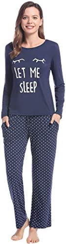 Joyaria Round Neck Pajama for Women Long Sleeve Top and Pants Pjs Set with Pockets