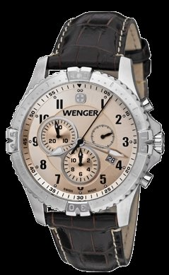 Wenger-Squadron-Chrono-Watch-Copper-Dial-Brown-Leather-Strap
