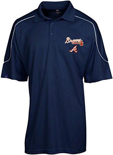 VF Atlanta Braves MLB Majestic Mens Run Down Synthetic Polo Shirt Navy Blue Size 6XL