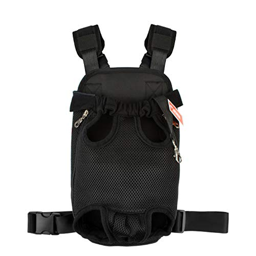 Legs Out Pet Carrier - NICREW Legs Out Front Pack Pet Carrier, Hands-Free Adjustable Backpack, Travel Bag for Small Medium Puppy Doggie Cat Bunny, Easy-Fit for Traveling Hiking Camping