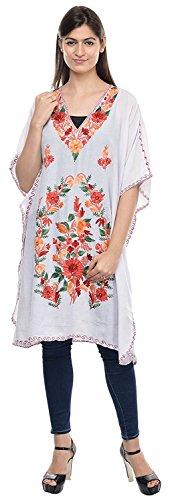 The MadhuSudan Gallery Cotton Kashmiri Embroidered Kaftan Boho Maxi Dress Hippie Beach Wear Overcoat Top ()