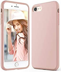 Anker iPhone 8 Silicone Case,KARAPAX iPhone 7 Silicone Case Silicone Gel Rubber Shockproof Case Cover with Soft Microfiber Cloth Cushion [Support Wireless Charging] for iPhone 8/7 -Blush Pink