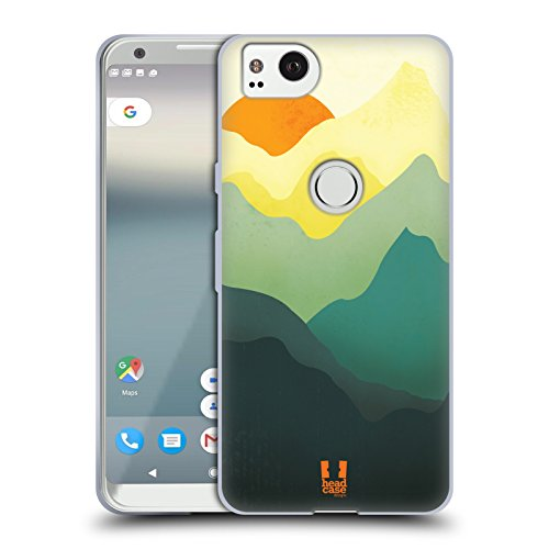 (Head Case Designs Sunrise Colourful Mountains Soft Gel Case for Google Pixel 2)