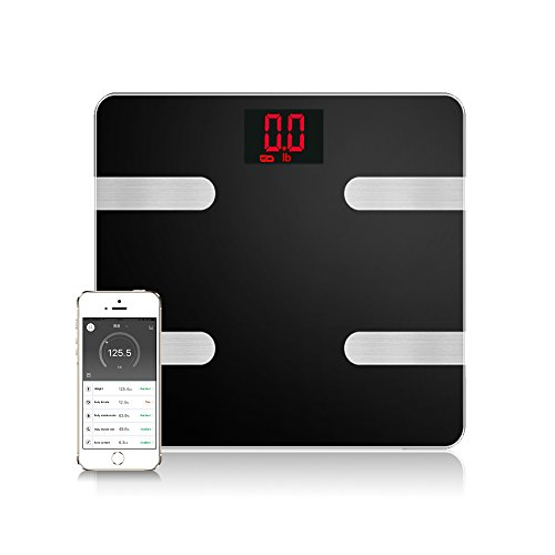 Body Fat Scale Smart Bluetooth Digital Scale Body Composition Monitor Analyzer Works With Smart phone Android IOS Free App Including BMI, Body Fat, Muscle Mass, Water Weight, and Bone Mass Analysis