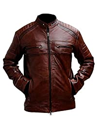 Cafe Racer Brown Men's Vintage Style Genuine Leather Motor Bike Jacket