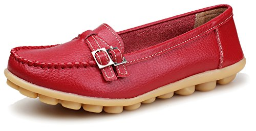Kunsto Women's Leather Loafer Shoes Slip On US Size 6 Red