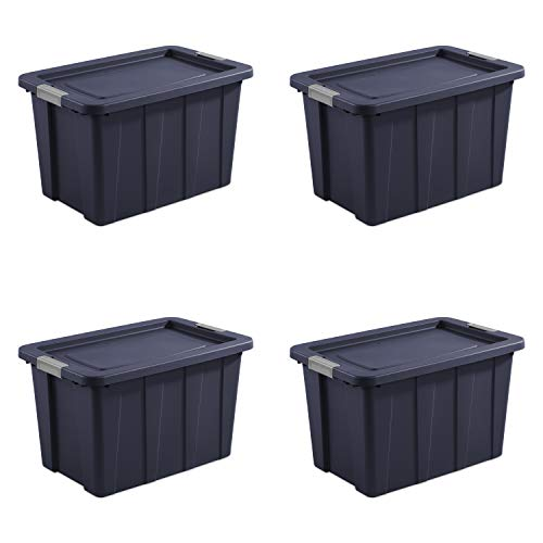 Sterilite 15278N04 Latching Tote, 30 Gallon, Dark Indigo Lid and Base with Titanium