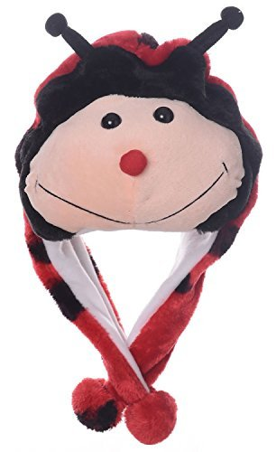 Animal Head Super Soft Plush Childrens Hat - Ladybug ()