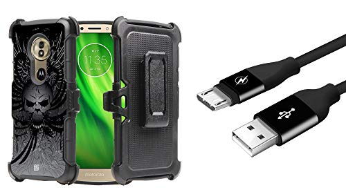 Beyond Cell Rugged Dual Layer Armor Phone Holster Combo Case (Skull Wings) with Micro USB Sync Charger Cable (3 feet) and Atom Cloth for Moto G6 Play, G6 Forge, Moto E5 (XT1920DL)