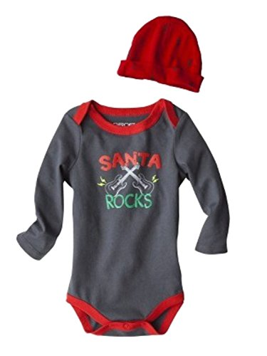 Cherokee Infant Boys Santa Rocks Onesie Christmas Bodysuit & Hat Set 3m Gray ()