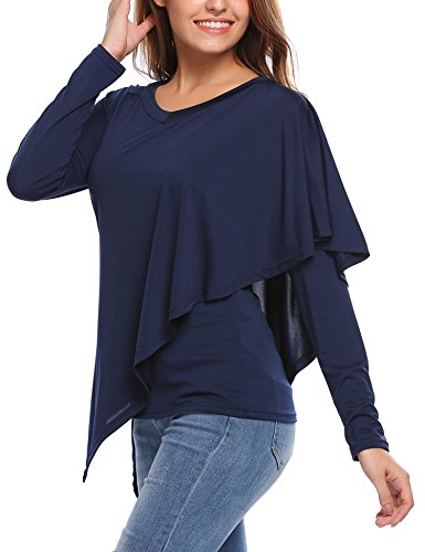 Ruffle Stretch Shirt (UNibelle Women's Casual V Neck Long Sleeve Ruffles Solid Blouse Stretch Asymmetrical Loose Fit Tops)