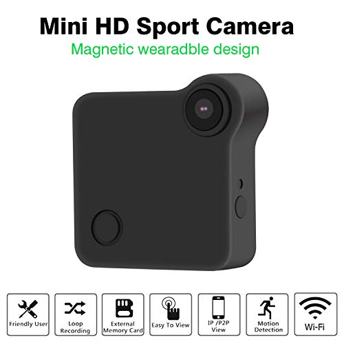 Mini Wireless Camera, Wearable IP Camera with Magnetic Clip,C1 Hidden Cam HD 720P Security Surveillance for Home, Office, Car & Drone,Voice Recorder Motion Detector for Baby/Elder/Pet