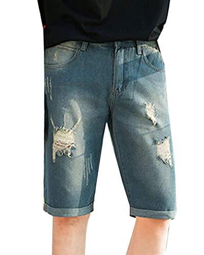 1 De Simple Ocio Bermudas Verano Destruidos Moda Pantalones La Los Jeans Hombres Cortos Mezclilla Retro Estilo q0nZWOUE