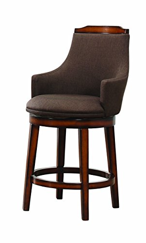 Homelegance Bayshore Swivel Counter Height Arm Chairs (Set of 2), Rustic Oak