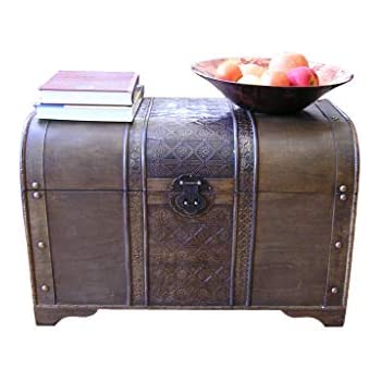 styled shopping large brown old fashion wood storage trunk wooden treasure chest - Storage Chest Trunk