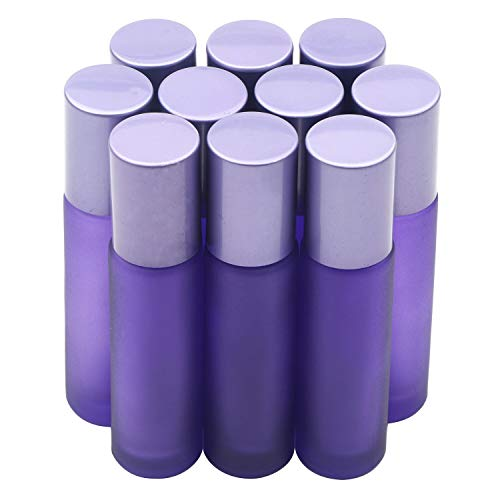 Kesell 10pcs Essential Oil Roll-on Bottles with Aluminum Cap, 10ml Frosted Purple Glass Perfume Bottles Stainless Steel Roller Balls Vials for Aromatherapy, Perfume Oils