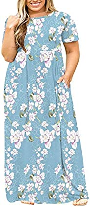 LONGYUAN Women Short Sleeve Casual L-6XL Plus Size Maxi Dress with Pockets