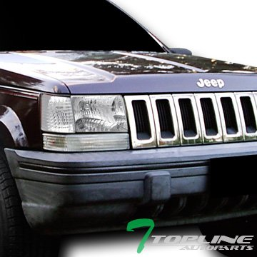 Topline Autopart Euro Chrome Clear Head Lights+Parking Corner Lamps K2 93-98 Jeep Grand Cherokee ()