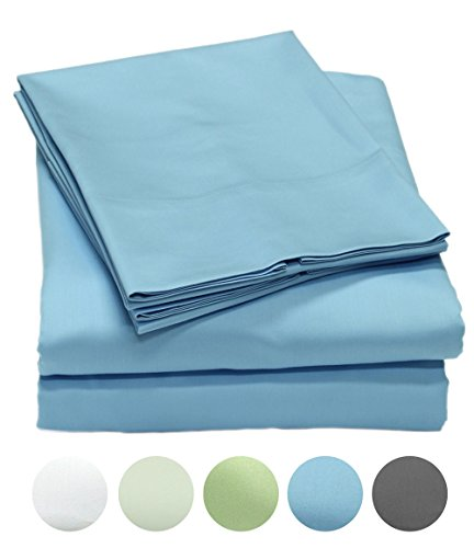 300 Thread Count 100% Organic Cotton Soft Sateen Sheet Set GOTS Certified, Hotel Luxury Bed Sheets, Full Size Sheet Set, Elastic Deep Pocket, Breathable & Cooling Sheets, 4-Pc Set, Full - Blue ()