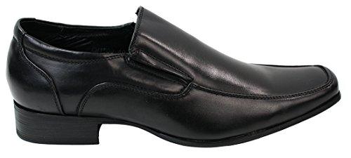 Mens Slip On Shoes inteligente Formal Cuero Negro forrado Redondos ancha del dedo del pie negro