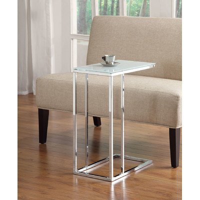 Modern Style Wychwood End Table Made from Frosted Glass and Chrome in Classic White Finish in 24'' H x 18'' W x 10'' D